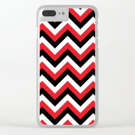 Red Black and White Chevrons Clear iPhone Case