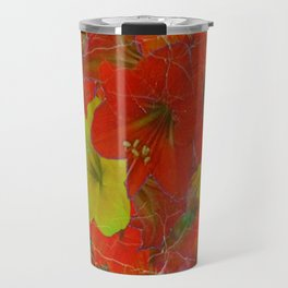 GRUNGY ANTIQUE RED FLORAL STILL LIFE BOUQUET Travel Mug