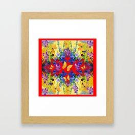 RED GARDEN  PURPLE FLOWERS YELLOW BUTTERFLIES Framed Art Print