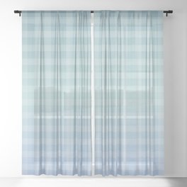 Checkered gingham stripes Sheer Curtain