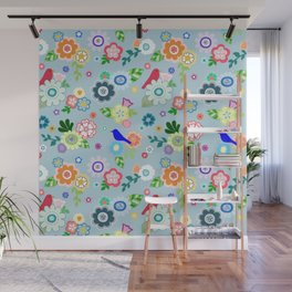 Whimsical Spring Flowers in Blue Wall Mural