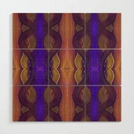 Golden Violet Autumn Waves Vertical Pattern Wood Wall Art