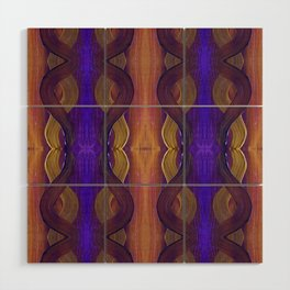 Golden Violet Autumn Waves Vertical Pattern Wood Wall Art