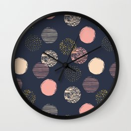 Gold, Rose Pink and Beige Polka Dots Pattern Wall Clock