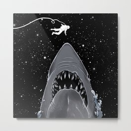Astronaut Meet the Jaws Metal Print
