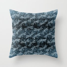 Rainy Day Dragonflies Throw Pillow