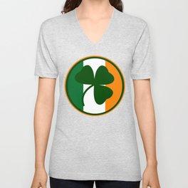 Green and orange Irish logo, shamrock  Unisex V-Neck