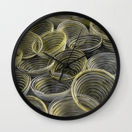 Black, white and yellow spiraled coils Wall Clock