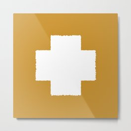 Smudgy Painted Swiss Cross 2 in White and Mustard Gold Metal Print