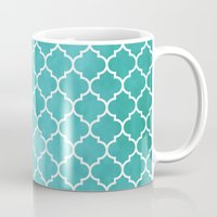 morocco Mugs featuring MOROCCO - AQUA by pike design