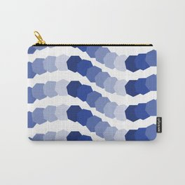 Monochromatic Blue Heptagon Waves Carry-All Pouch