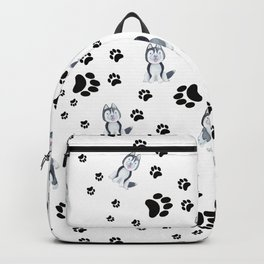 Hand painted watercolor black white dog paw's pattern Backpack