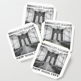 Brooklyn Bridge New York City (black & white edition with text) Coaster