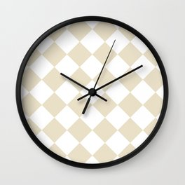 Large Diamonds - White and Pearl Brown Wall Clock