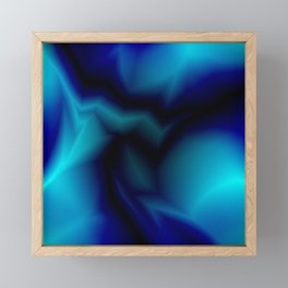Mystical cosmic sparkling lightning of light blue zigzags and yellow spots. Framed Mini Art Print