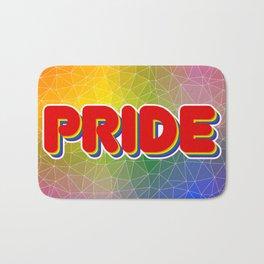 Pride Word with Triangulated Rainbow Background Bath Mat