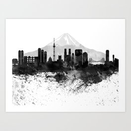 Tokyo Black White Drops Skyline Art Print