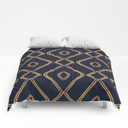 Modern Boho Ogee in Navy & Gold Comforters
