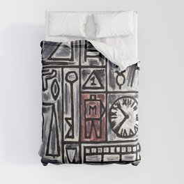 Construction in Gray and Black with Red Center- Joaquin Torres Garcia Comforters