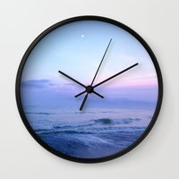 moonrise Wall Clocks featuring Moonrise by Miranda Stein