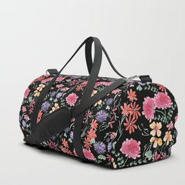 Bright flowers on a black background. Duffle Bag