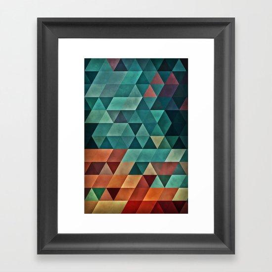 Teal/Orange Triangles Framed Art Print