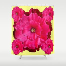 YELLOW FUCHSIA-PINK  DOUBLE  HOLLYHOCK FLOWERS GARDEN Shower Curtain