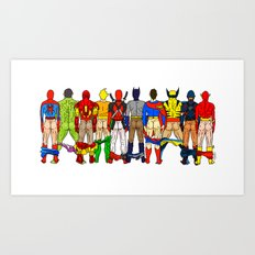 Superhero Butts LV Art Print