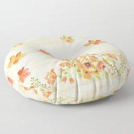 Autumn Flowers in Watercolor Floor Pillow