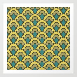 Fan Pattern Yellow Teal and Olive Green 308 Art Print