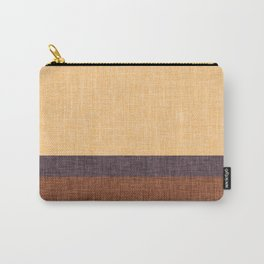 Simple Stripe Abstract with Burlap Pattern Carry-All Pouch