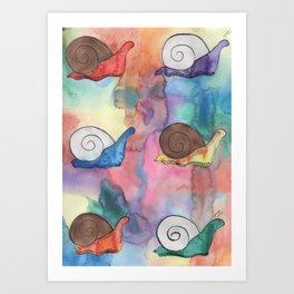 Rainbow Snails Art Print