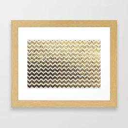 Glitter Sparkly Bling Chevron Pattern (gold) Framed Art Print