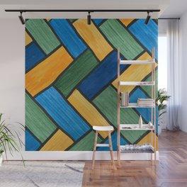 Blue, Green, Gold Herring Bone Color Blocks Wall Mural