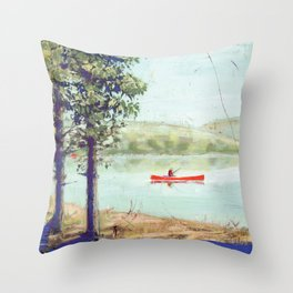 fishing - by phil art guy Throw Pillow