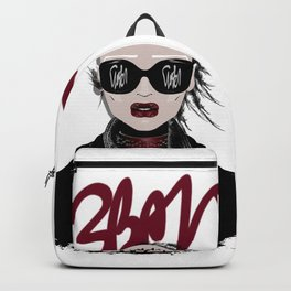 URBAN Shaved Head Girl Portrait with Black Perfecto Backpack