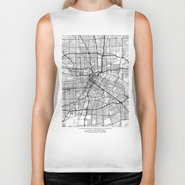 Houston Map White Biker Tank
