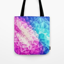 Pink - Ice Blue / Abstract Polygon Crystal Cubism Low Poly Triangle Design Tote Bag