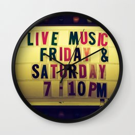Live music sign Wall Clock