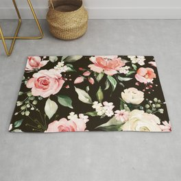 Pink & White Roses On Black Background Watercolor Painting Floral Pattern Rug