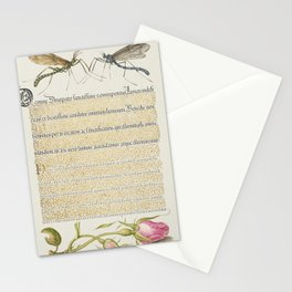 Crested Crane Fly Insect and French Rose from Mira Calligraphiae Monumenta or The Model Book of Call Stationery Cards