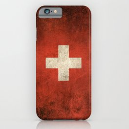 Old and Worn Distressed Vintage Flag of Switzerland iPhone Case