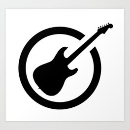 Ink Stamp Guitar Art Print