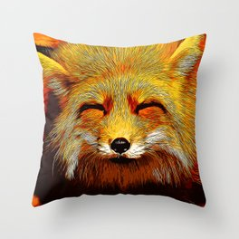 happy fox smiling v2 vector art Throw Pillow