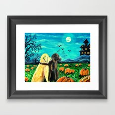 Dogs in Pumpkin Patch Framed Art Print