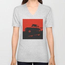 Fiat 500 classic, Red on Black Unisex V-Neck
