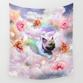 Rainbow Unicorn Pug In The Clouds In Space Wall Tapestry