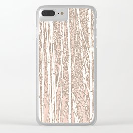 Birch Trees Pattern Pastel Pink Clear iPhone Case