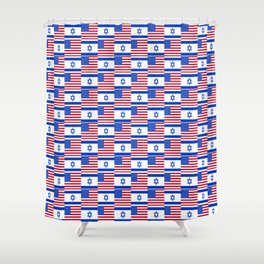 Mix of flag : usa and israel Shower Curtain