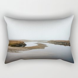 Photo of National Park the Slufter covered in fog V | A journey around Wadden Island Texel Rectangular Pillow